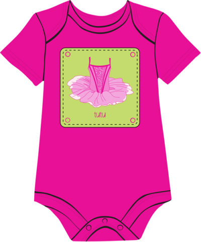 ballet-dress-fuchsia baby onesie for girls