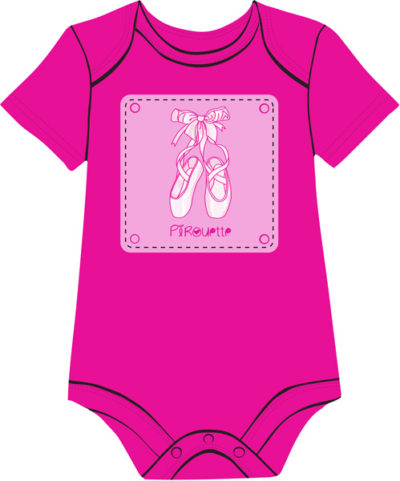 ballet-shoes-fuchsia baby onesie for girls