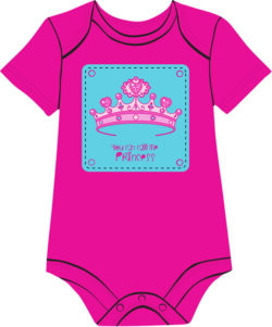 tiara fuchsia onesie for baby girls