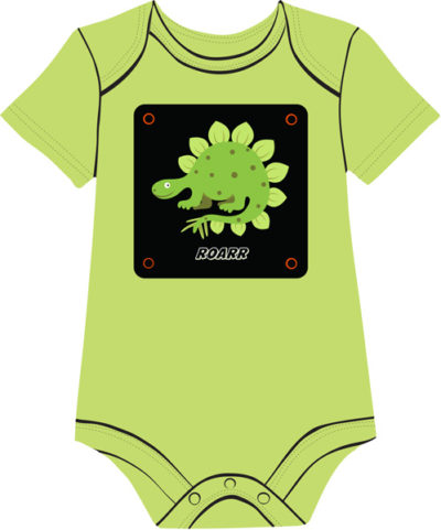 Dinosaur on green onesie