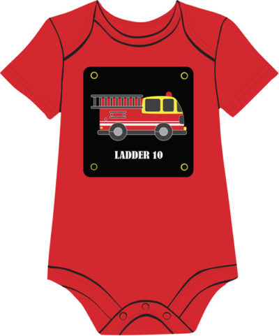 Firetruck on red baby onesie