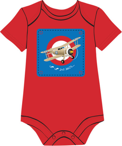 Vintage biplane on red onesie