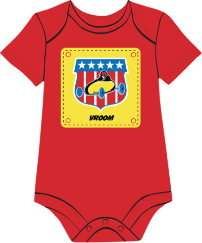 Vintage race car on red baby onesie