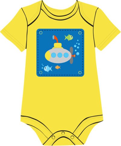 Submarine on yellow onesie