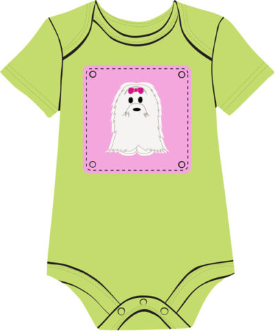 Bichon Green baby onesie