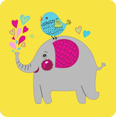 Happy Elephant yellow patch - animal lover collection