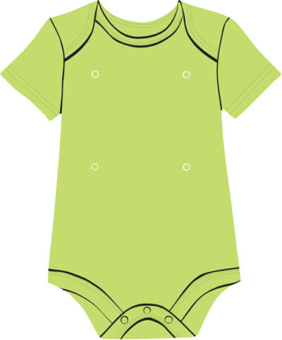Green baby onesie with snaps