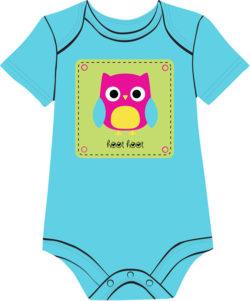Owl on Turquoise onesie