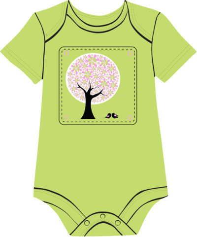Pink tree Green baby onesie