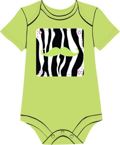 Zebra Mustache Green baby onesie